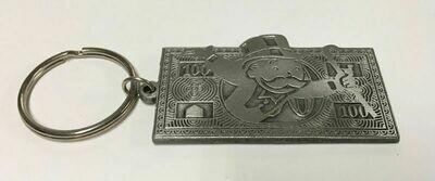 Monopoly Money Man Unpainted Metal Key Ring