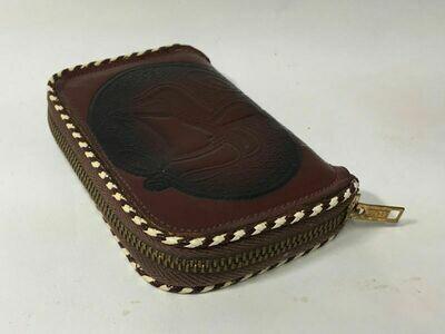 Vintage Polished Genuine Cowhide Key Case Western Saddle Emboss