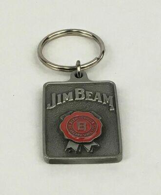 Jim Beam Fine Pewter Rectangular Medallion Key Ring
