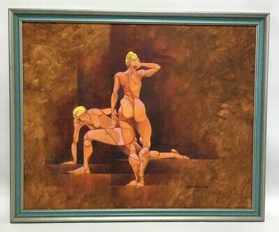 Original Signed Egg Tempra Painting on Foam Board of Two Nude Athletes by Joe Develasco 1988