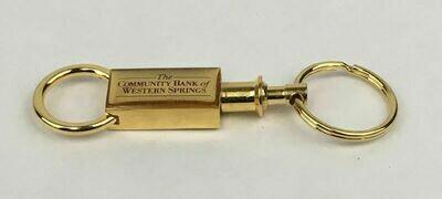 Dual Snap Lock Pull-Apart Dual Gold Key Ring