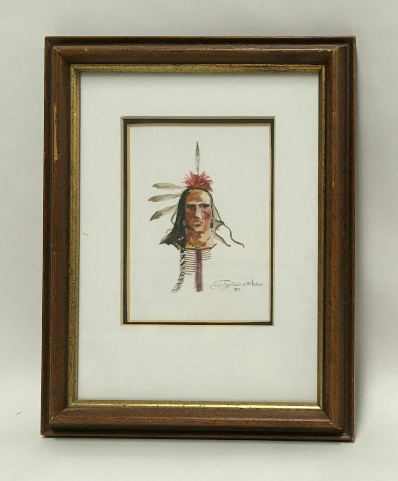 Original Framed W/C Portrait of an American Indian -Joe Develasco Signed 1992
