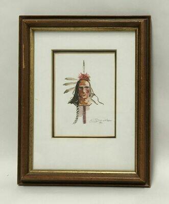 Original Framed W/C Portrait of an American Indian -Joe Develasco Signed 1992