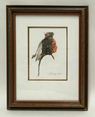 Original Framed W/C Profile Portrait of an American Indian -Joe Develasco Signed 1992