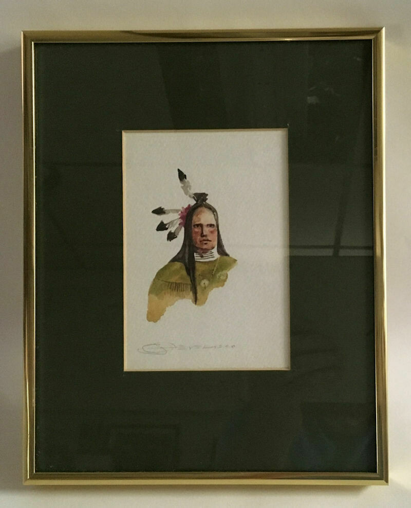 Original Framed W/C Frontal Portrait of an American Indian -Joe Develasco Signed C1992