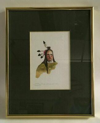 Original Framed W/C Frontal Portrait of an American Indian -Joe Develasco Signed C1992