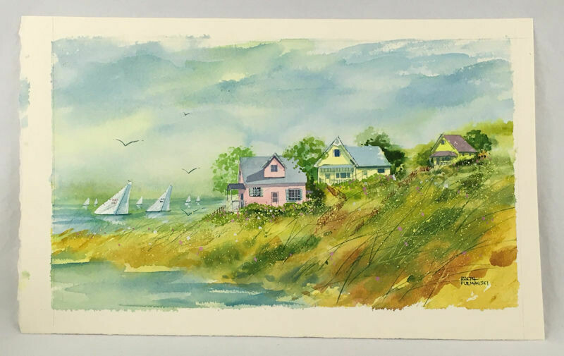 Ralph Furmanski Signed Original Watercolor Painting - Seascape c1980s.