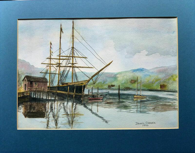 """The Joseph Conrad"" Original Watercolor 1990 by Dennis Chadra"