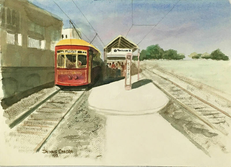 """New Orleans Trolley"" - Original Watercolor 1991 - Dennis Chadra (1942-)"