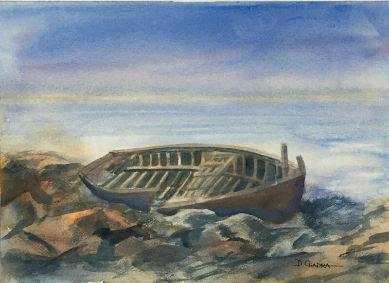"""New England Wreck"" - Original Watercolor 1991 - Dennis Chadra (1942-)"