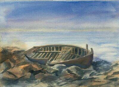 """New England Wreck"" - Original Watercolor 1991 - Dennis Chadra (1942-)"