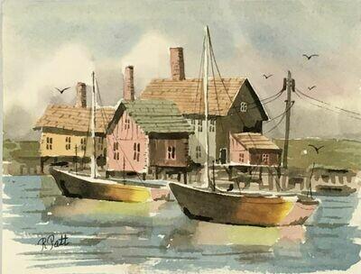 """Untitled"" (Seascape) - Original Watercolor circa late 1980's. - Richard Patt"
