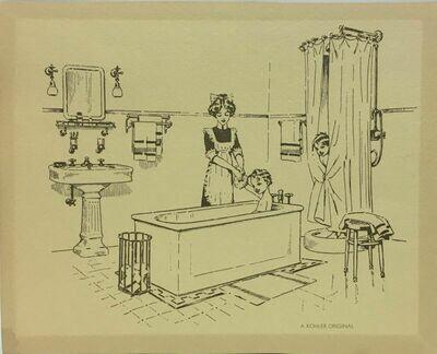 "Vintage Kohler Original Pen & Ink Bathroom 8""x10"" Print"