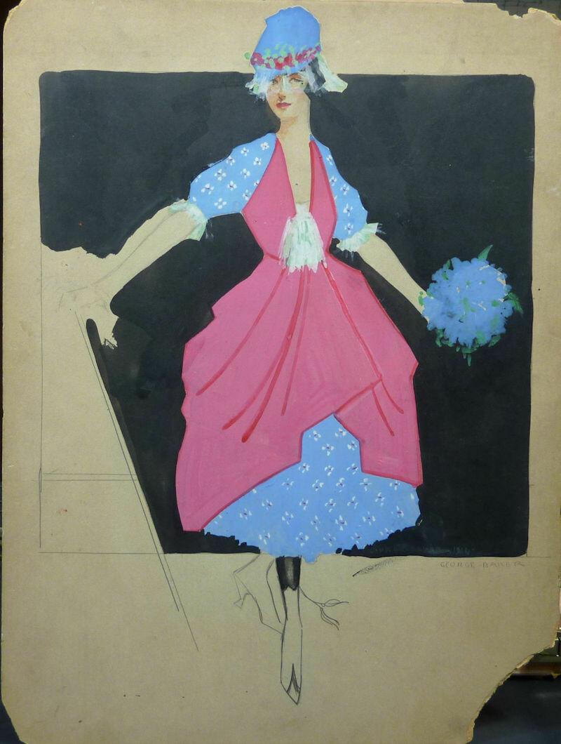 George Baker Fashion Original Pen & Ink and Tempera Paint Art Illustration Circa 1915 Signed.