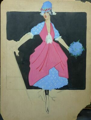 George Baker Fashion Original Pen & Ink and Tempera Paint Art Illustration Circa 1915 Signed.