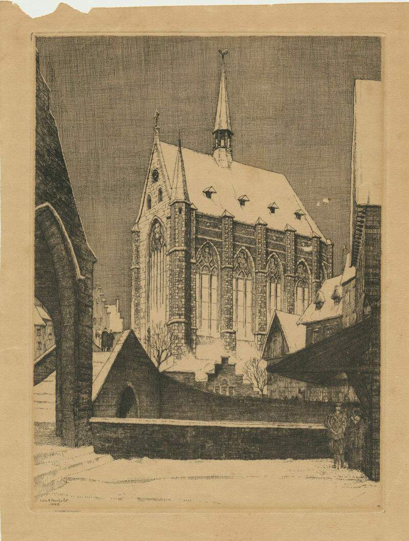 Leon R Pescheret Etching. Cathedral 1933