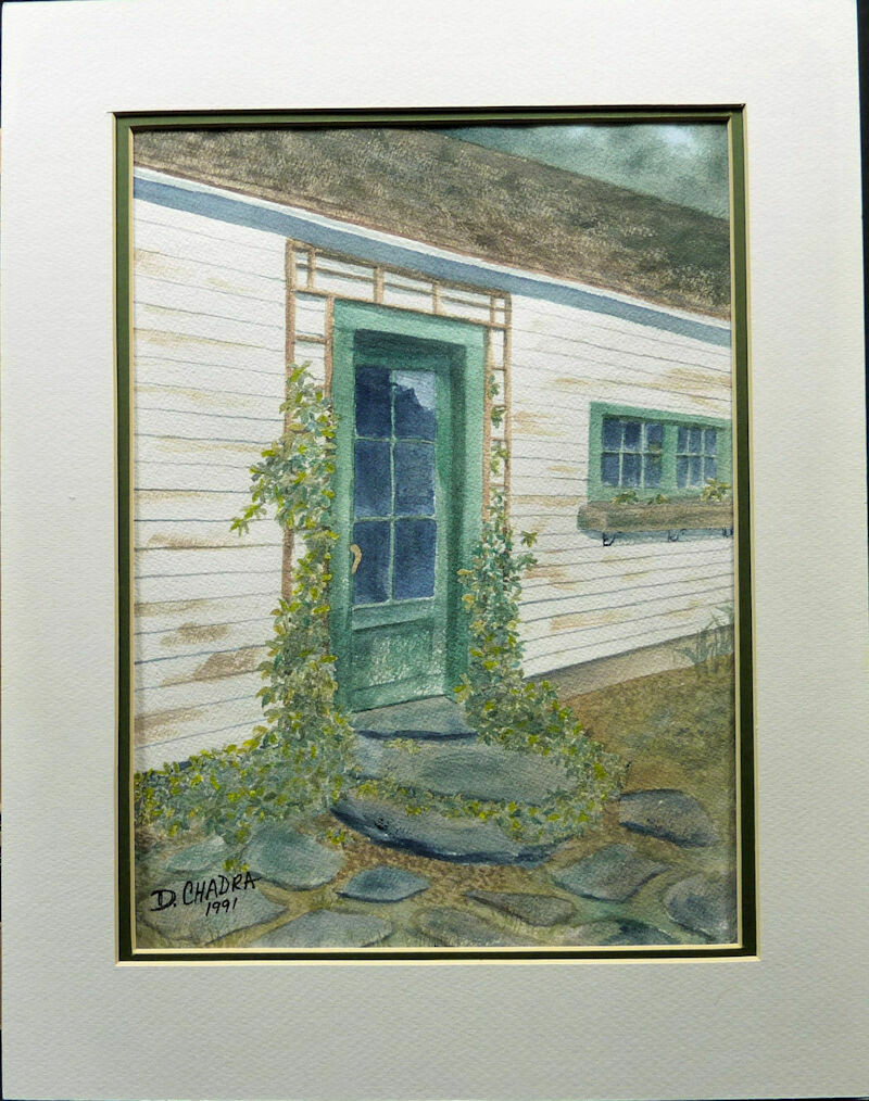 New England Caretaker's Door Original Watercolor Matted 1991 Signed D Chadra