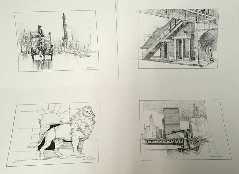 Develasco 4pc Chicago Pen & Ink Prints Portfolio 1989 OOP Rare