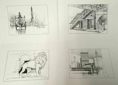 Develasco 4pc Chicago Pen & Ink Prints Portfolio 1989 OOP Rare