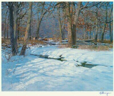 """David Hettinger - Wooded Winter Scene Signed Print 8"""" x 8"""" Overall"""