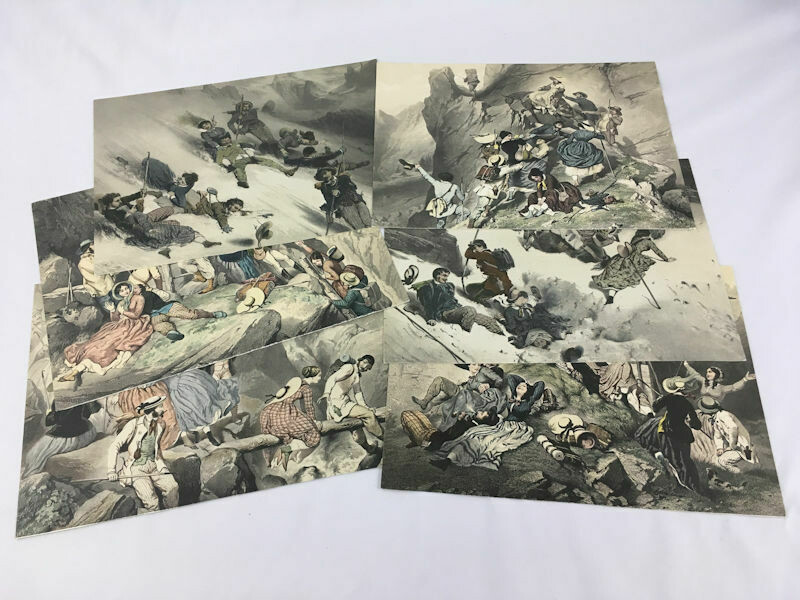 Set of 6 Colored Lithograph Illustrations of a group of Mountaineers on the Alps c1850 by E. Guerard (1821-1866)