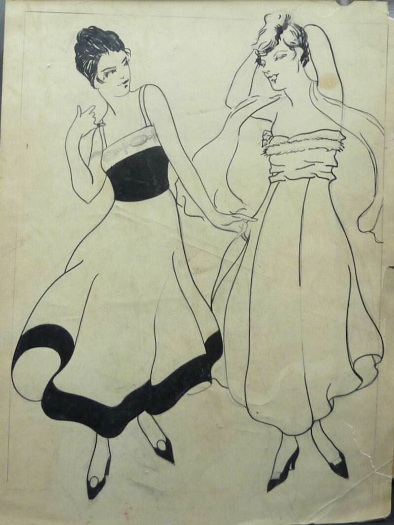 George Baker Fashion Original Pencil and Pen & Ink Art Illustration Circa 1915 Unsigned - Two Girls.