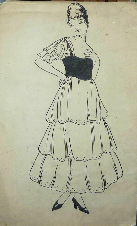 George Baker Fashion Original Pen & Ink Art Illustration Circa 1915 Unsigned - Girl in Fancy Dress