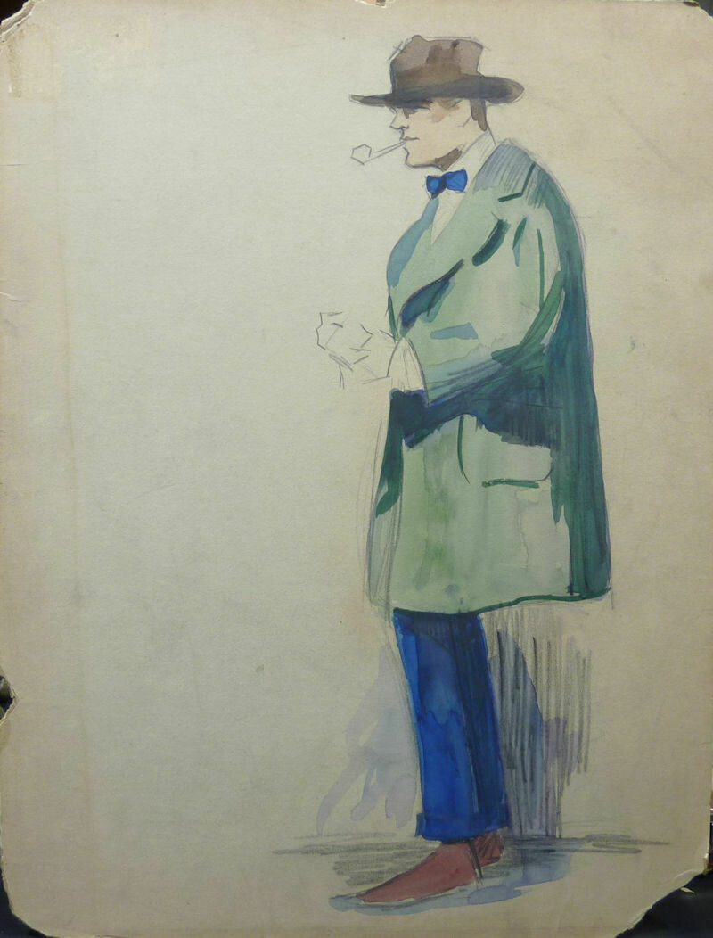 George Baker Fashion Original Pencil and Tempera Paint Art Illustration Circa 1915 Not Signed. Man with Hat and Coat.