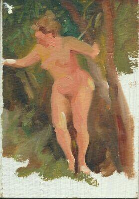 "Joe Develasco Estate – ""Nude in Forest"" Oil on Cardboard Panel 4-3/8"" x 6-1/8"" Unsigned c1988"