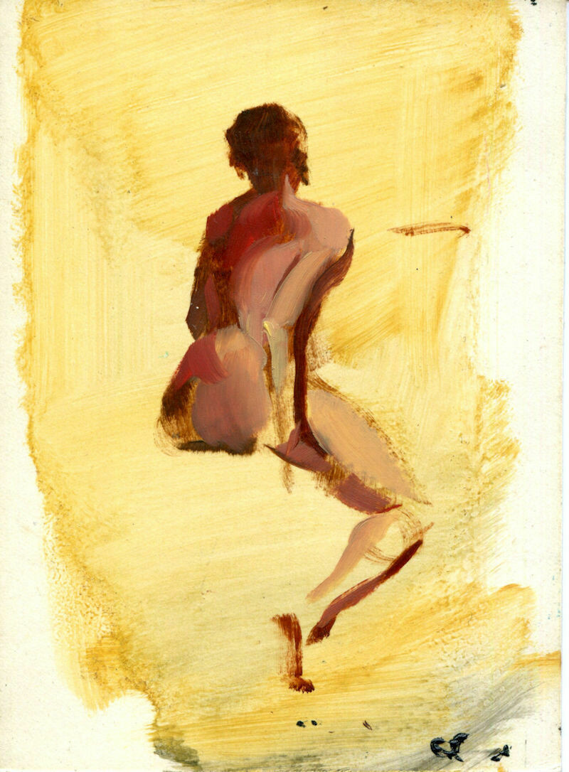 "Joe Develasco Estate – ""Female Back"" Oil on Paper Sketch 6"" x 4.5"" Unsigned c1988"