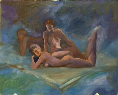 "Joe Develasco Estate – ""Three Female Figures"" Oil on CB 8"" x 10"" Unsigned c1988"