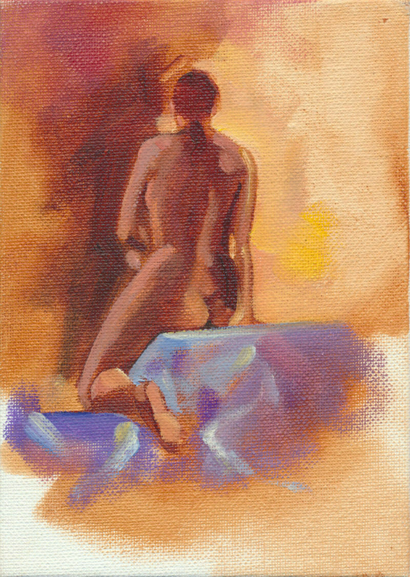 "Joe Develasco Estate – ""Seated Girl Back"" Oil on Canvas Panel 5"" x 7"" Unsigned c1988"