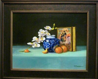 """Blue Vase & Drums - Oil on Panel 14"""" x 18"""", Framed - Dennis Chadra (1942 - )"""