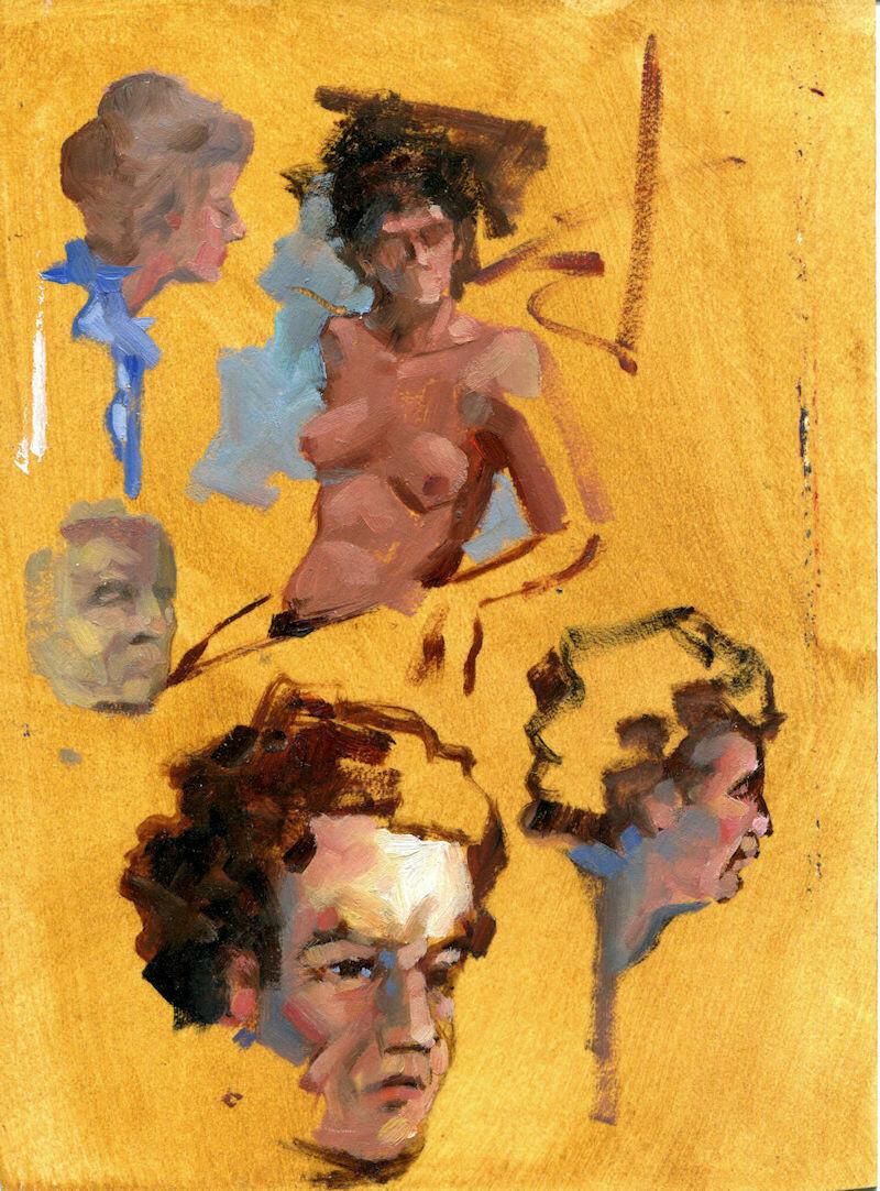 "Joe Develasco Estate – ""Faces Study"" Oil on Paper Sketch 6.13"" x 4.5"" Unsigned c1988"