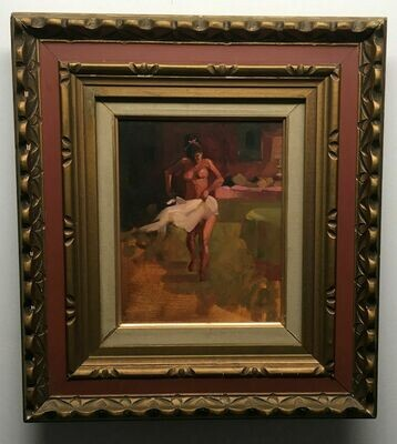 "Joe Develasco Estate – ""After the Bath"" Oil on Panel 8"" x 10"" Unsigned c1988 with Frame"