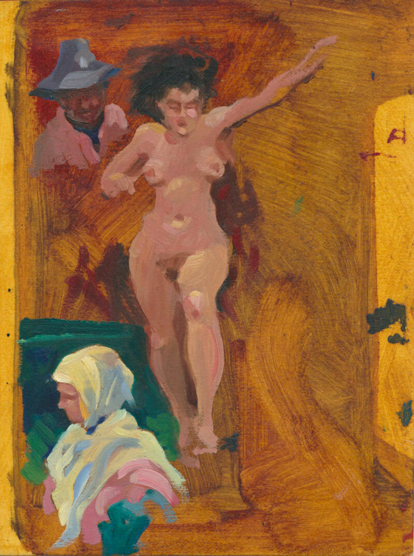 "Joe Develasco – ""Three Figures"" Oil on Bristol Paper 4-1/2"" x 6"" Unsigned c1988"