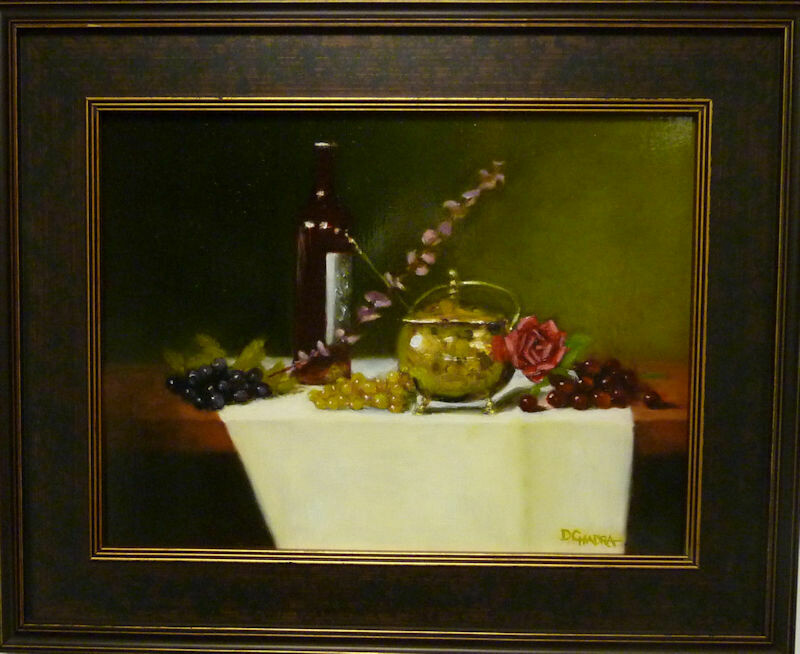 Brass Pot with Red Rose and Grapes - Oil on Panel - Dennis Chadra (1942 - )