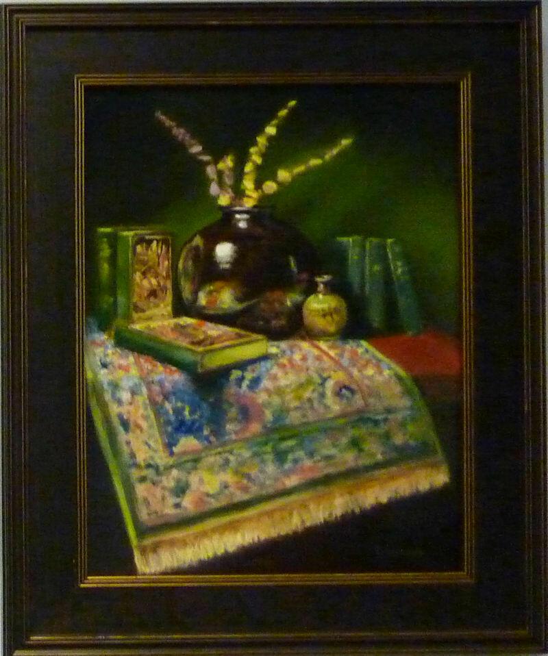 "Raku Vase With Books - Oil on Panel, 18"" x 14"",  Framed Dennis Chadra (1942 - )"