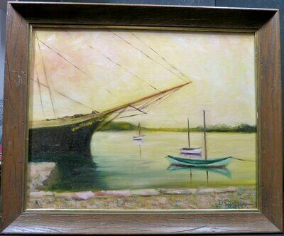 "Dennis Chadra ""The Joseph Conrad"" Signed Original Oil Painting on Panel c1990s"