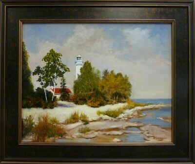 "Cana Lighthouse Door County Wisconsin - Oil on Panel, 16"" x 20"", Framed - Dennis Chadra (1942 - )"