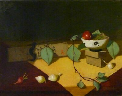 "Rice Bowl With Eucalyptus - Oil on Portrait Linen, 14"" x 18"", Framed"