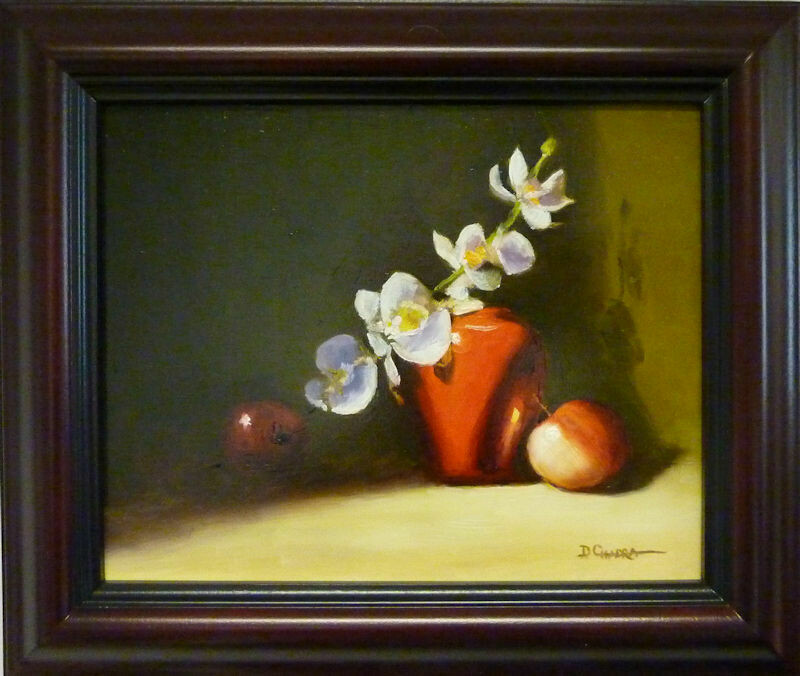 """Variations in Red - Oil on Board  8"""" x 10"""" - Dennis Chadra (1942 - )"""