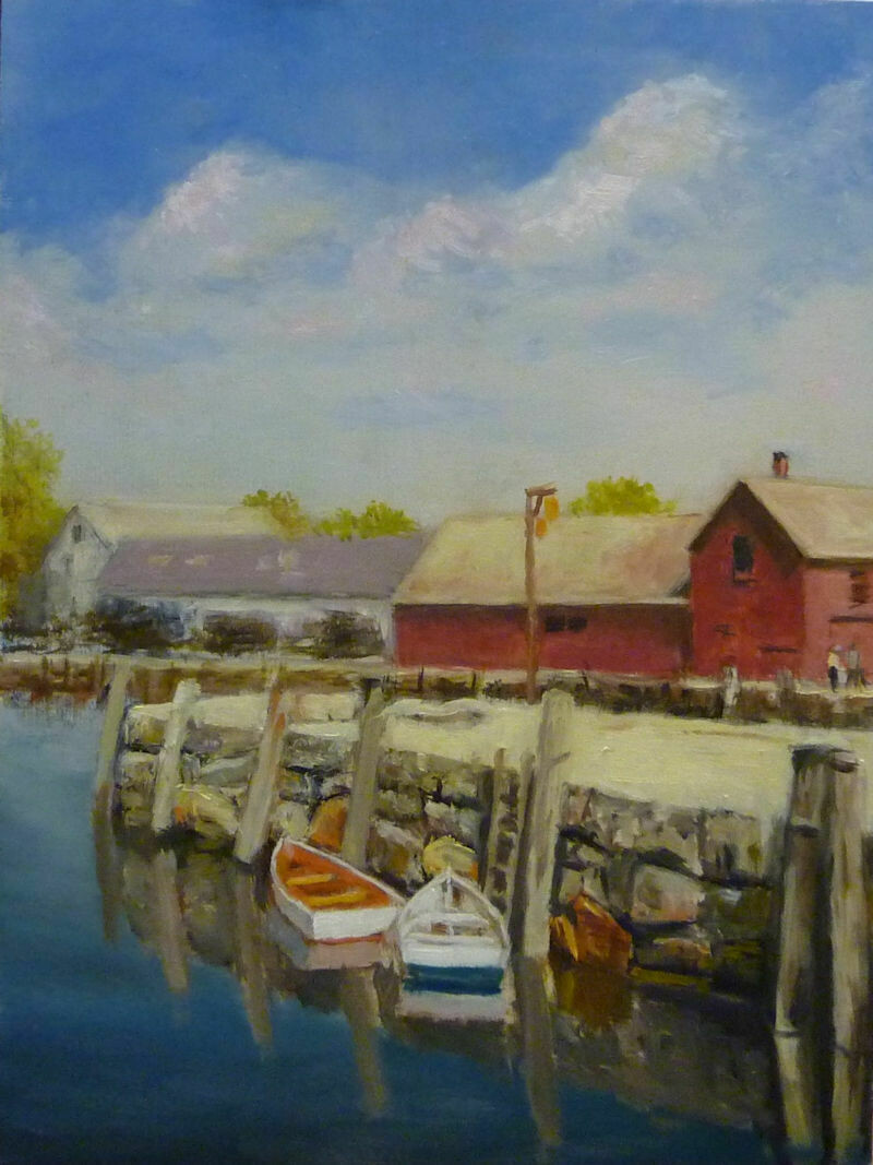"""Two of a Kind - Rockport, MA - Oil on Panel, 16"""" x 20"""" Dennis Chadra (1942 - )"""