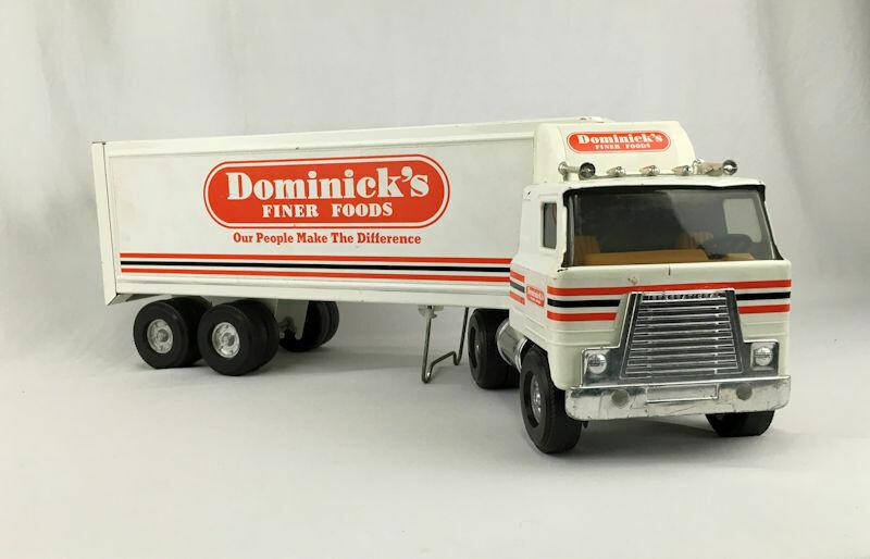 ERTL 1970's DominIck's Finer Foods Pressed Steel Truck & Trailer 1/16 Scale