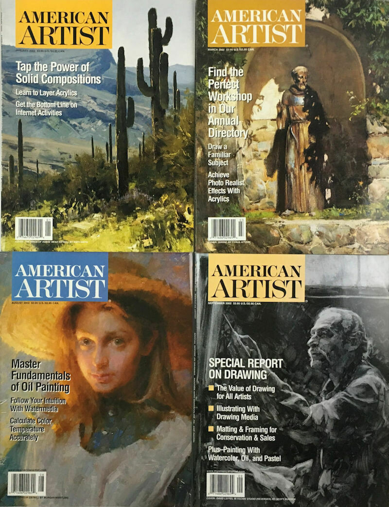 American Artist Magazines 2002 (Lot of 4 Issues)