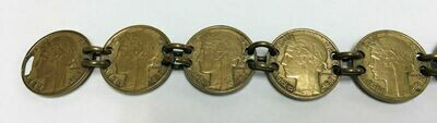 Trench Art WWII France 50 Centimes 9 Morlon Coin Bracelet - Minted 1931 – 1941