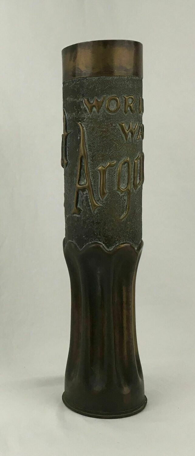 "WWI 75mm Brass Artillery Shell Casing Vase Marked Embossed ""World's War Argonne Forest"""