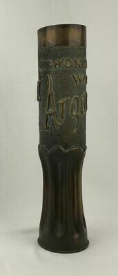 WWI 75mm Brass Artillery Shell Casing Vase Marked Embossed