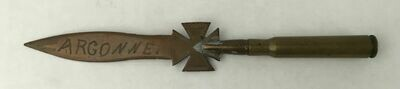 Trench Art WWI Letter Opener German Cross Marked