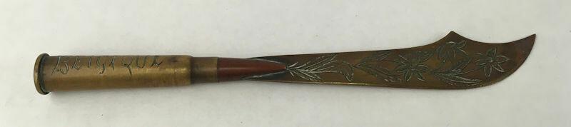 "WWI Trench Art Brass Letter Opener Marked ""Belique 1917"""